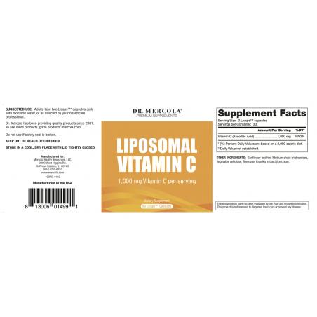 Witamina C w liposomach 500 mg (60 kaps.) Dr Mercola - etykieta