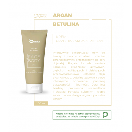Argan + Betulina - Krem Przeciwzmarszczkowy (100 ml) EkaMedica
